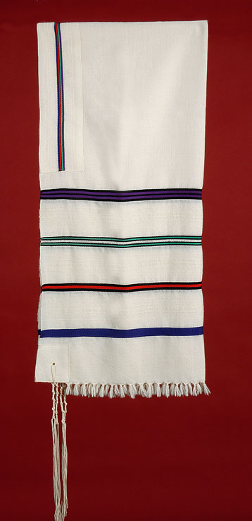 Tallit with Four Stripes of Color