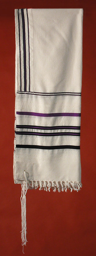 Tallit with Purple and Black Stripes
