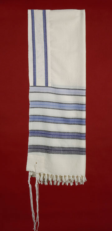 Tallit with Five Stripes of Blue