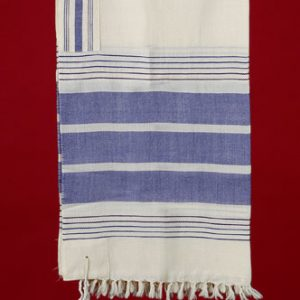 Tallit with Wide Blue Stripes